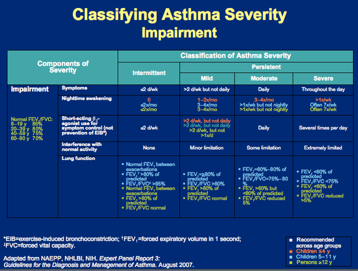 asthma and classification mechanism The different classifications of asthma are based on the severity of the condition and the classification of anyone's asthma can change over time it is difficult to diagnose and classify in children younger than 4 years old since symptoms may be different from those in older patients.