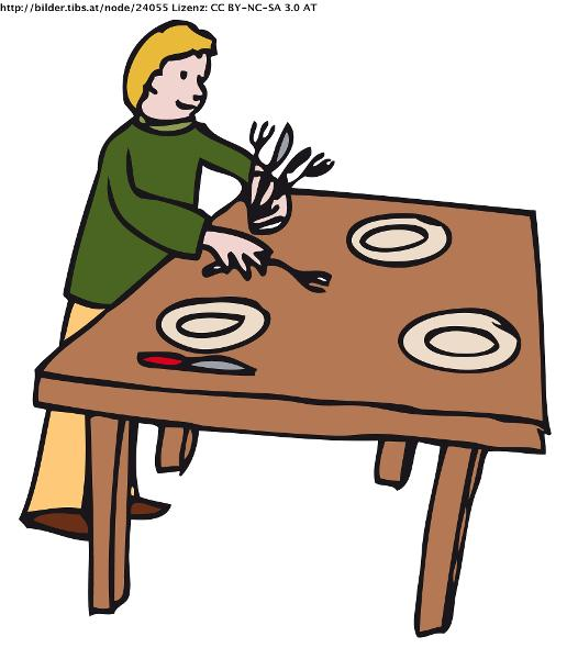 Kitchen Table Clip Art: Household Chores Flashcards